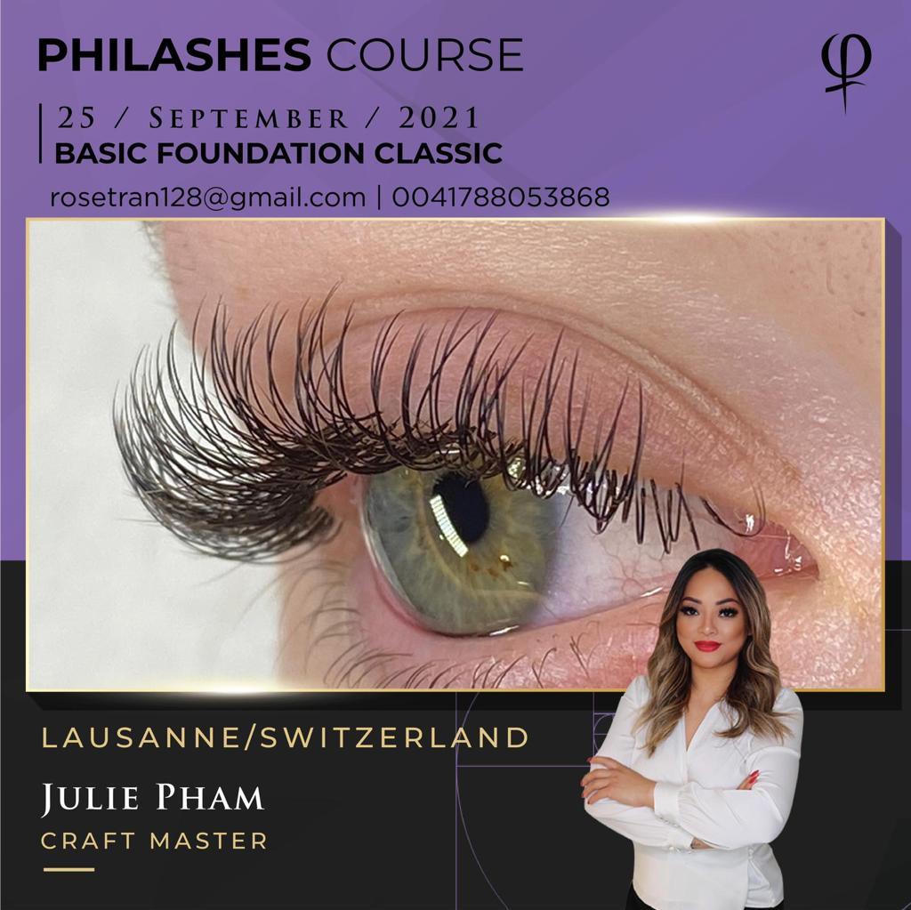 PhiLashes, Formation de Base,  basique, extension de cils, cil à cil, pose de cils, des cils, Phiacademy, eye designer